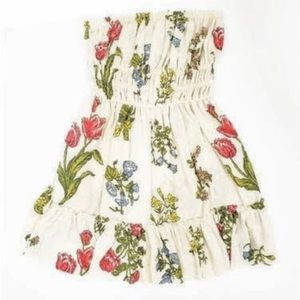 Urban Outfitters Cream Floral Strapless Dress